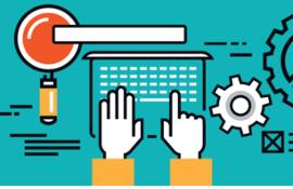 Ilustração sobre fundo azul turquesa. No centro, mãos em branco sobre o teclado de um laptop. À esquerda, uma lupa com borda branca, lente em vermelho e cabo amarelo. À direita, ícones de engrenagem