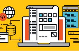 Ilustração sobre fundo amarelo. Ao centro, um laptop aberto. Sobre a tela, uma página com lista de arquivos e pequenos quadrados. À direita, ícone de base de dados, uma janela de software e um globo. À direita, telas de desenvolvimento de códigos.