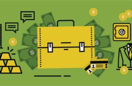 Ilustração sobre fundo verde. Ao centro, maleta retangular amarela, de onde saem notas de dinheiro em verde escuro. À esquerda, trapézios fazem as vezes de barras de ouro. À direita, cartões de crédito em amarelo e um cofre, também amarelo.